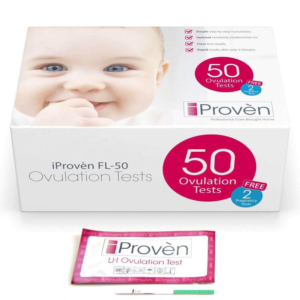 Ovulation Test Strips 50 - Ovulation Predictor Kit - iProvèn FL-50 - 50 LH-Tests Fertility Tracking iProvèn