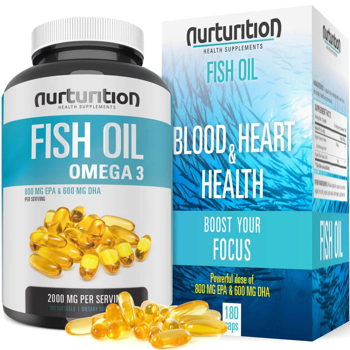 Purified Fish Oil 2000mg with 800mg EPA and 600mg DHA (120 Softgels) - Omega 3 to support an active lifestyle Supplement Nurturition
