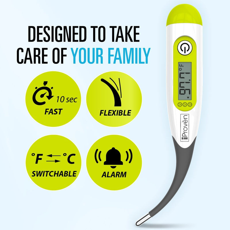 Digital Thermometer - Easy, Accurate, Fast Oral & Rectal Thermometer - DTR-1221BGW iProven