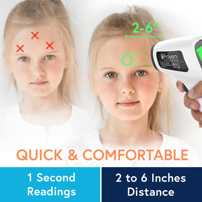 iProven No Touch Infrared Thermometer quick 1 second readings and 2 to 6 inch distance for measuring fever