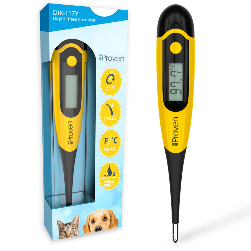 iProven DT-K117Y Pet Thermometer for Accurate Fever Detection - Suitable for Cats/Dogs - Waterproof Pet Thermometer