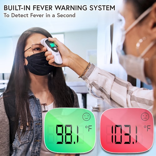 Temporal thermometer with fever indicator