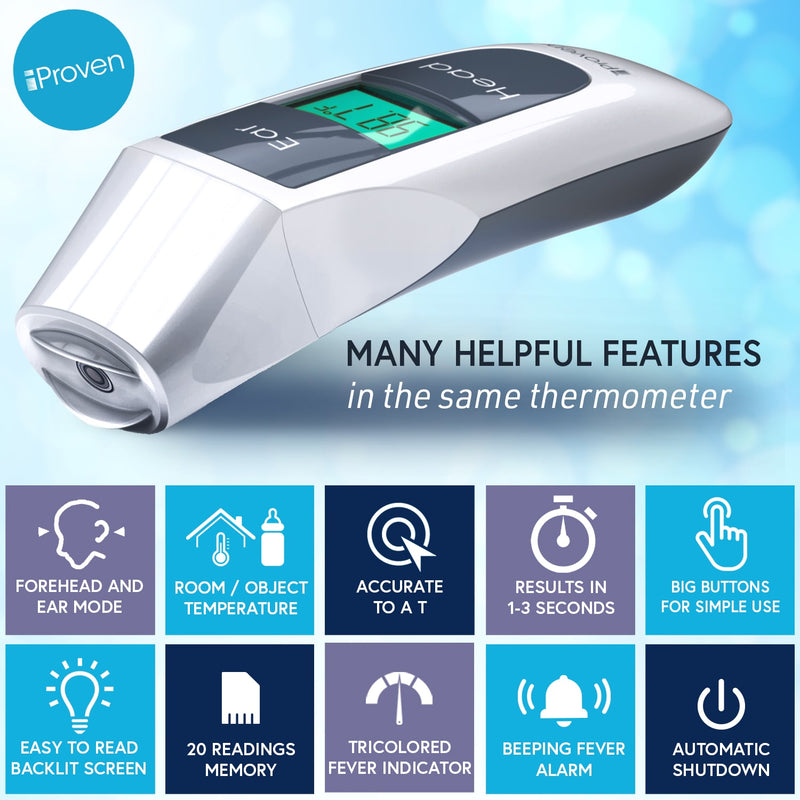 iProven DMT-316 Forehead Thermometer for Adults and Seniors - Dual Mode Forehead and Ear Thermometer - Highly accurate readings - Easy to Read Backlit Screen - Big Buttons for Easy Use - Fever Alarm with Tricoloured Fever Indicator