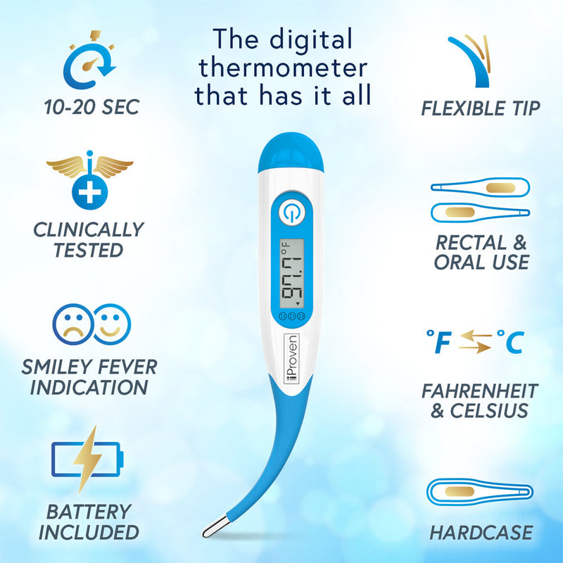 iProven DTR-1835 Medical Oral & Rectal Thermometer for Babies and Adults - Flexible Waterproof tip - Hard Case included - Accurate 10-20 second readings - ProTemp Flex Technology