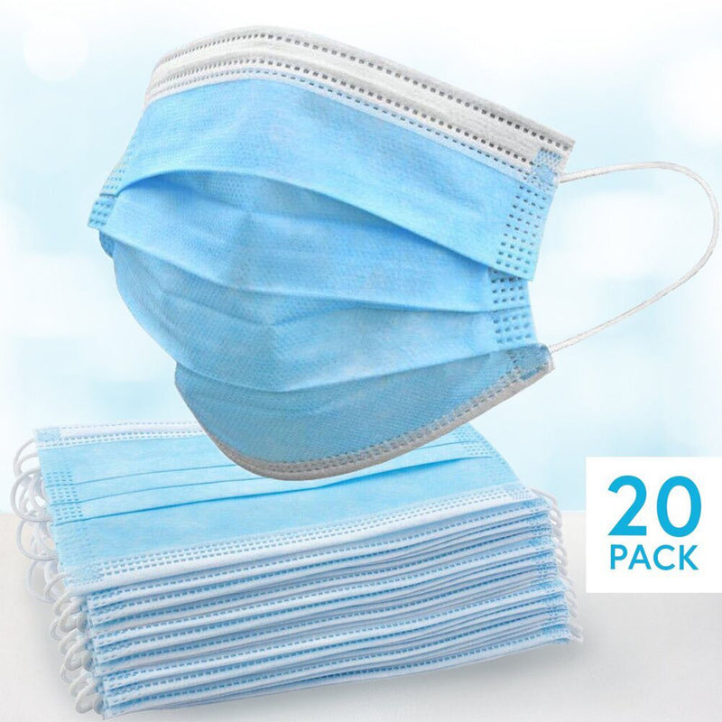 Disposable Face Masks - With Ear Loop - Pack of 20 (Blue) - Winter Sale