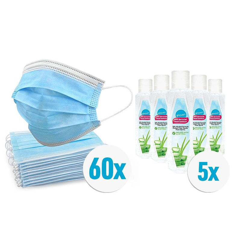 iProven Winter Sale | 60x Disposable Face Masks| | 5x Hand Sanitizer 50ml