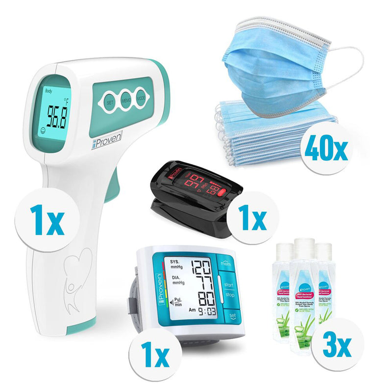 iProven Winter Sale | 1x Non Contact Thermometer NCT-978 | 1x Pulse Oximeter Black | 1x Blood Pressure Monitor Blue | 3x Hand Sanitizer 100ml | 40x Disposable Face Masks