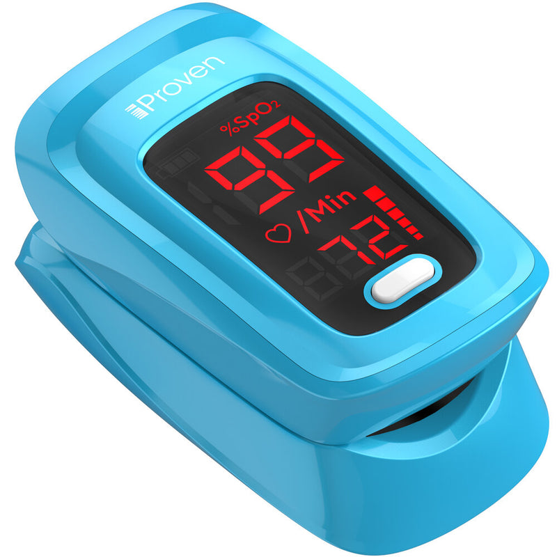 iProven OXI-27 Pulse Oximeter Fingertip O2 Saturation Monitor - Finger Pulse Oximeter - Measure O2 Saturation Levels - incl. Batteries, Case and Lanyard - Blue