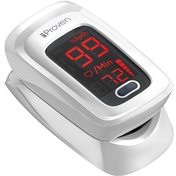 Pulse Oximeter Fingertip O2 Saturation Monitor - Finger Pulse Oximeter - Measure O2 Saturation Levels - incl. Batteries, Case and Lanyard - iProven OXI-27 White