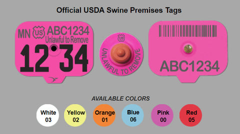 Duflex Swine Premise ear tag colors sold by CCK Outfitters