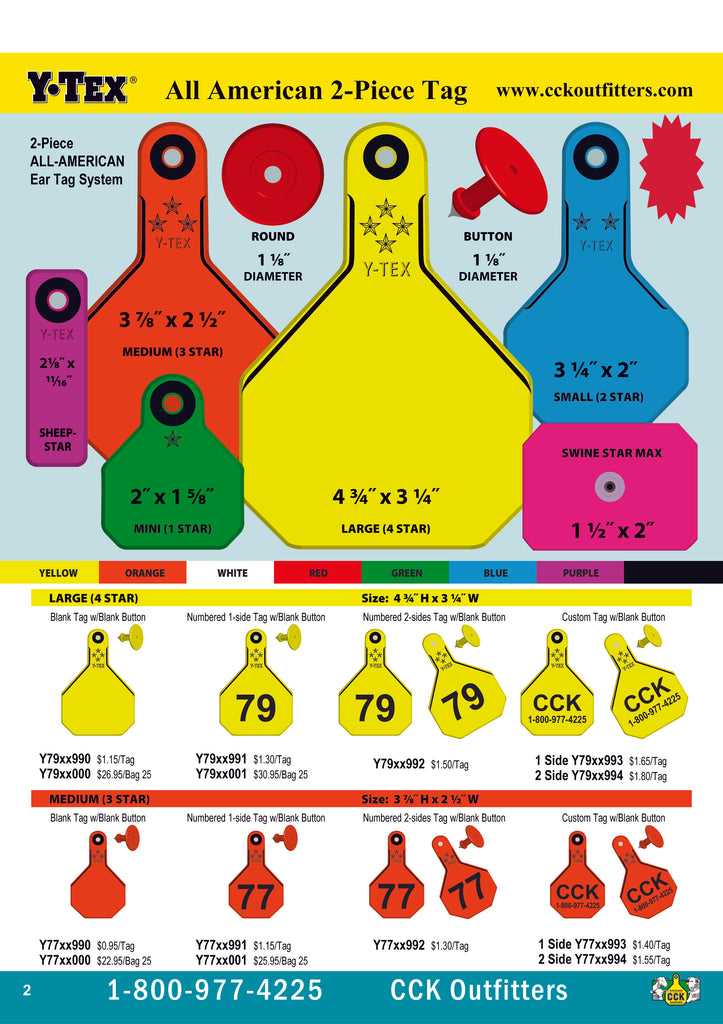 CCK catalog page for Y-Tex 2pc Ear Tags