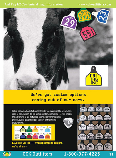 CCK On Line Catalog Page for Cal Tag layered engraveable ear tags