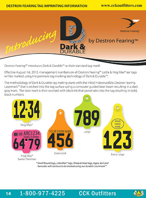 CCK on line catalog page of Destron Fearing Duflex Ear Tags with duramarking