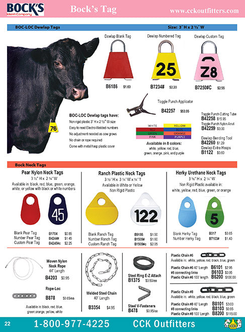 CCK On Line Catalog page for Bock's ID cattle ear tags