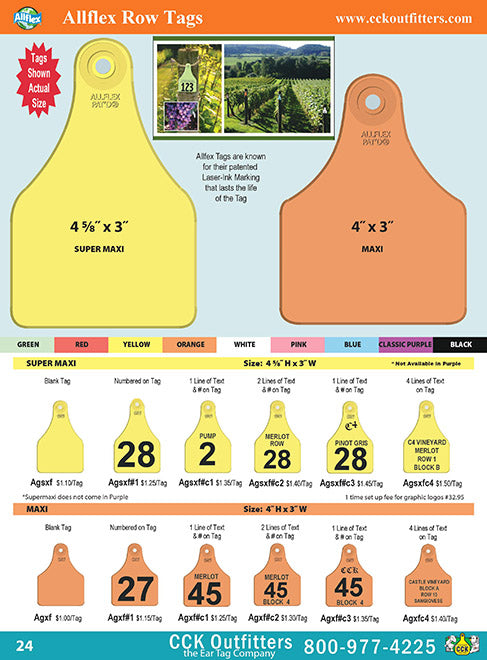 CCK allflex vineyard row tag catalog page