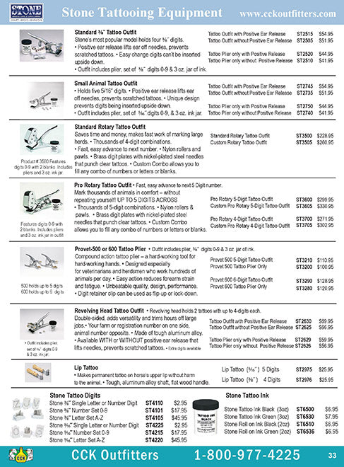 CCK On Line Catalog Page for Stone Tattoo Equipment for livestock identification