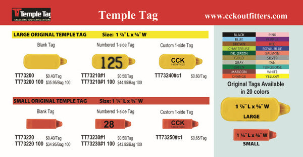 CCK on line catalog of Temple Original 1 piece ear tags