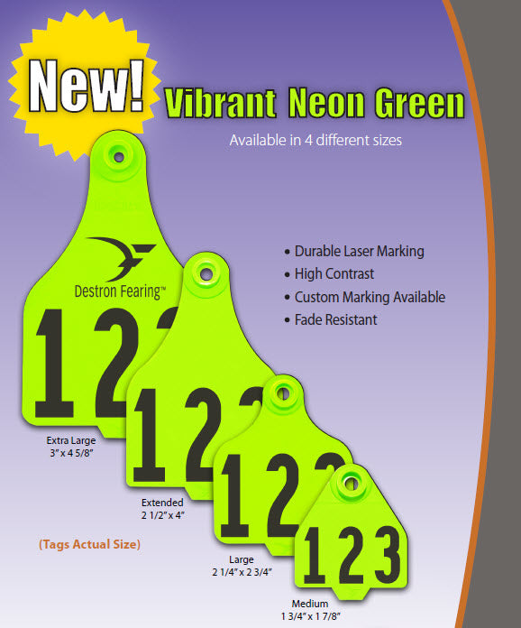 CCK on line catalog page of Destron Fearing Duflex Ear Tags Neon Green color
