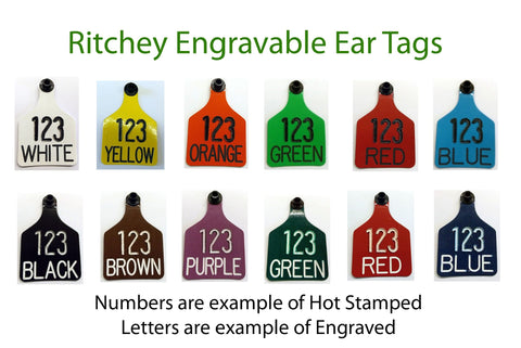 cck sells large ritchey engraveable ear tags in 13 colors