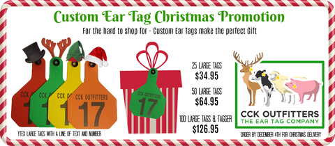 cck christmas custom ear tag promo on Ytex ear tags