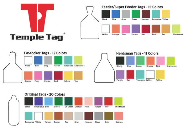 CCK on line catalog of Temple ear tag colors