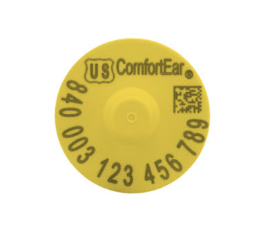 Temple Comfortear USDA 840 EID FDX Ear Tag with Extended Button Yellow (25/bag)