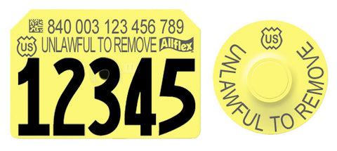 ALLFLEX USDA 840 OFFICIAL Visual SWINE Numbered 1 Side Tag with Matched Round