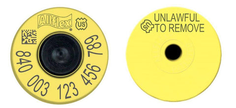 Allflex USDA 840 FDX Standard Performance Full Duplex Tamperproof Yellow EID Ear Tag with Extended Button (20/bag)