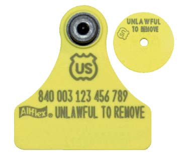 Allflex USDA 840 Visual Tamperproof Junior Blank Ear Tag with Button