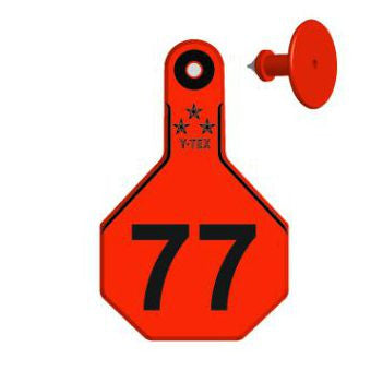 Y-TEX Medium Calf/Deer Numbered 1 Side Ear Tags with Buttons (25/bag)