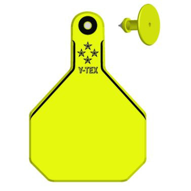 Y-TEX Large Cow Blank Ear Tags with Buttons (25/bag)