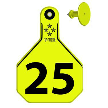 Y-TEX Large Cow Numbered 1 Side Ear Tags with Buttons (25/bag)