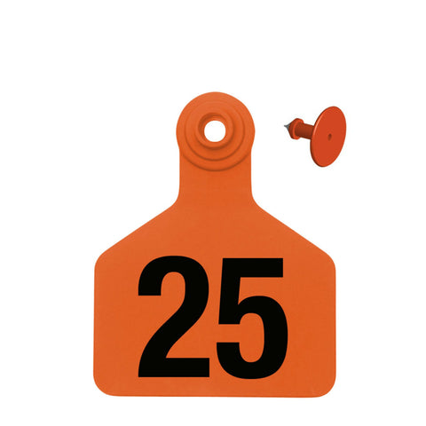 Z Tag Z2 2-piece Numbered Large Calf Ear Tags with Buttons (25/bag)