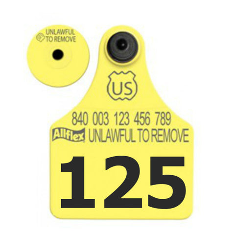 ALLFLEX USDA 840 Visual Tamperproof Large Calf/Deer Numbered 1 Side Ear Tag with Button