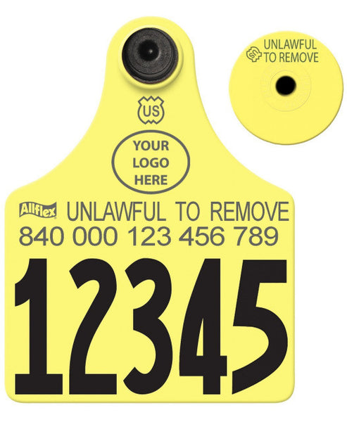 ALLFLEX USDA 840 Visual Tamperproof Maxi Cow/Calf Custom 1 Side Tag with Button