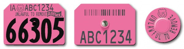 Allflex USDA PIN Visual Swine Premise Numbered Ear Tag with Barcode and Premise ID number and Tamperproof Round