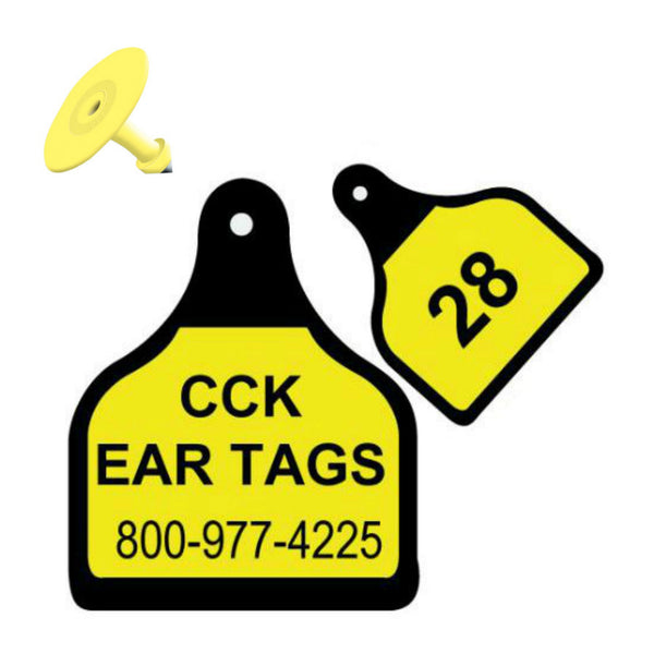 CAL TAG Cow Large Welded Custom 2 Sides Ear Tag with Button
