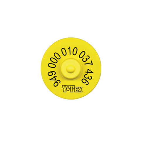 Y-TEX 949 FDX Tamperproof yellow EID Tag with Blank Button Bag 20