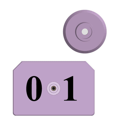 Allflex Integra Hog Numbered Male Ear Tag with Blank Female Button (Bag/25)