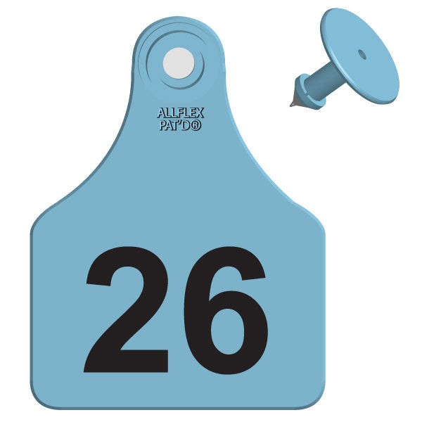 ALLFLEX Large Calf/Deer Numbered 1 Side Ear Tags with Blank Buttons (25/bag)