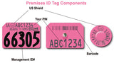Destron Fearing USDA PIN Visual Swine Premise Number 2 Sides and Numbered Tag with Blank Tamperproof Round