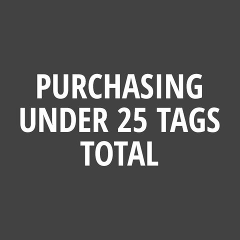 "Minimum Order: Purchasing Under 25 Tags Total (if more than 25 tags please ""X"" out of this window to decline)"