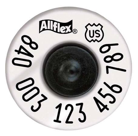 ALLFLEX USDA 840 HDX High Performance Half Duplex Tamperproof White EID Ear Tags with Extended Buttons (20/bag)