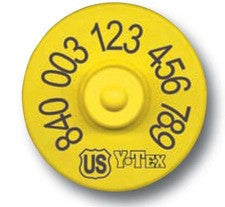Y-TEX USDA 840 FDX Tamperproof Yellow EID Tag with Blank Button Bag 20
