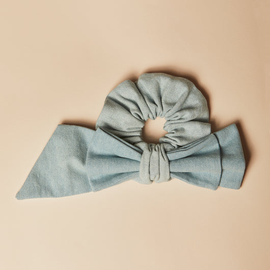 Two-toned Denim Ainsley Asymmetrical Bow Scrunchie