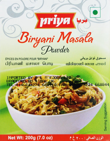 Priya Biryani Masala Powder 200gm - Sabadda - Indian Online Grocery Store in UK