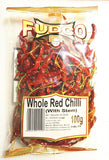 Fudco Whole Red Chilli (With Stem) 100 gm - Sabadda - Indian Online Grocery Store in UK