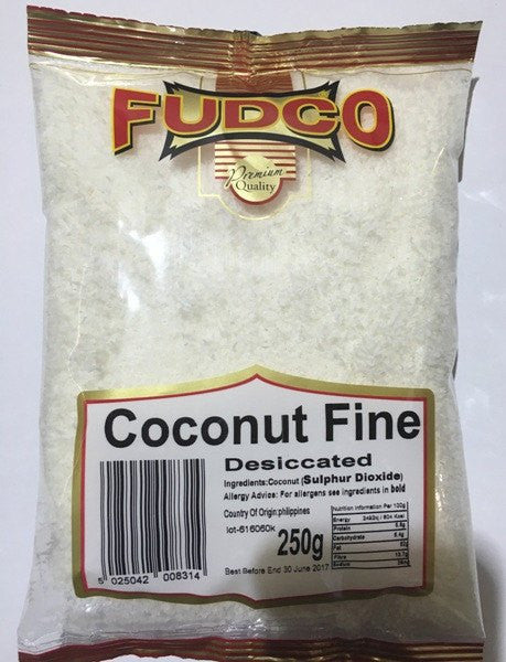 Fudco Coconut Fine Desiccated 250 GM - Sabadda - Indian Online Grocery Store in UK