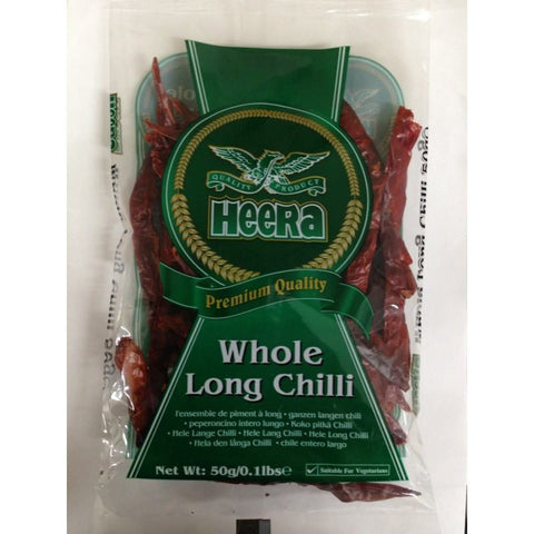 Heera Chilli Whole Long 50gm - Sabadda - Indian Online Grocery Store in UK