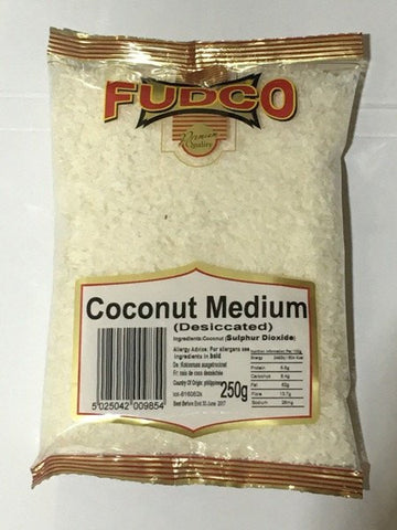 Fudco Coconut Medium Desiccated 250 GM - Sabadda - Indian Online Grocery Store in UK